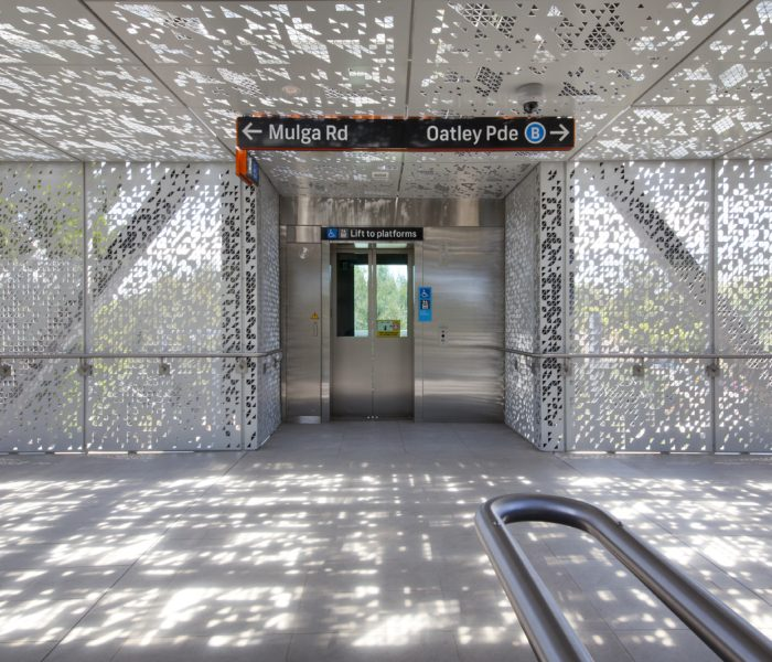 Oatley Station Footbridge: Custom Perforated Metal Panels