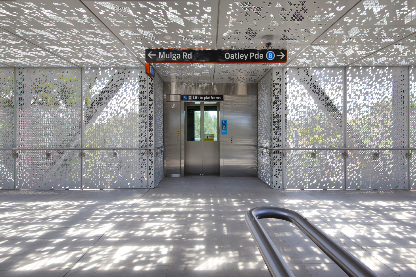 Perforated metal panels - Oatley station