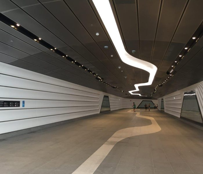 Wynyard to Barangaroo walkway tunnel: Custom perforated metal panels