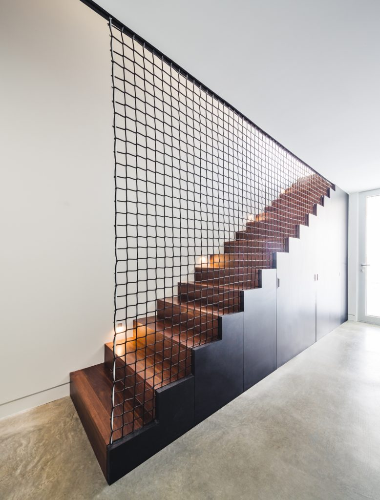 interior use of metal - Woven wire metal staircase