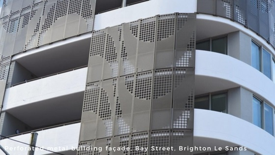 Perforated metal and wire mesh products - perforated metal building facade - Arrow Metal
