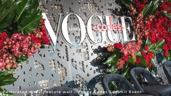 Perforated metal and wire mesh products - perforated metal feature wall - Vogue event - Arrow Metal