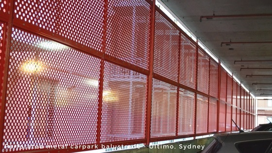 Perforated metal and wire mesh products - carpark balustrade - Arrow Metal