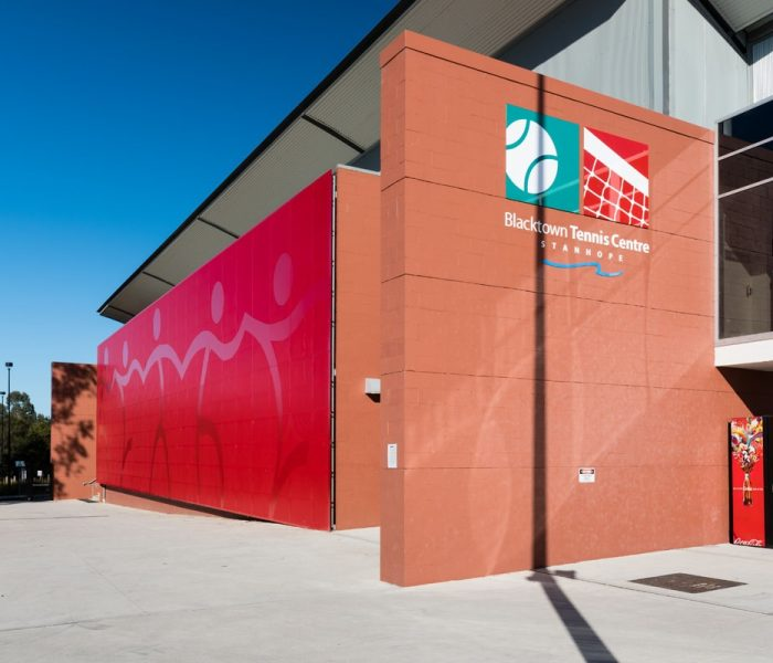 Bespoke perforated metal panel design: Blacktown Tennis Centre