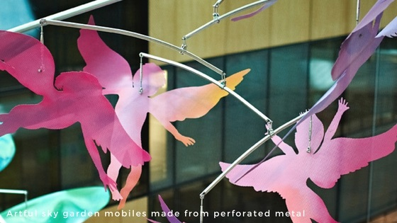 Perforated metal and wire mesh products - artful mobiles made from perforated metal - Arrow Metal