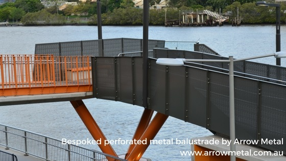 Perforated sheet metal uses - safety balustrade - Arrow Metal
