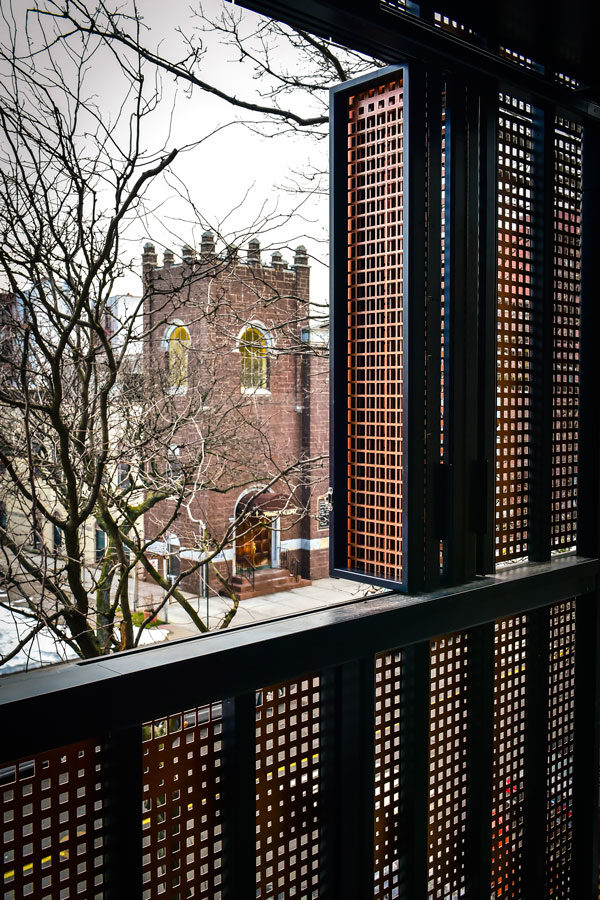 Square hole perforated metal - building facade