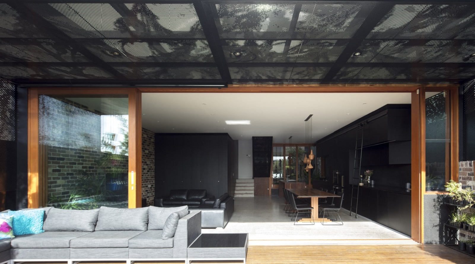 Perforated metal stairs - urban design - Arrow Metal