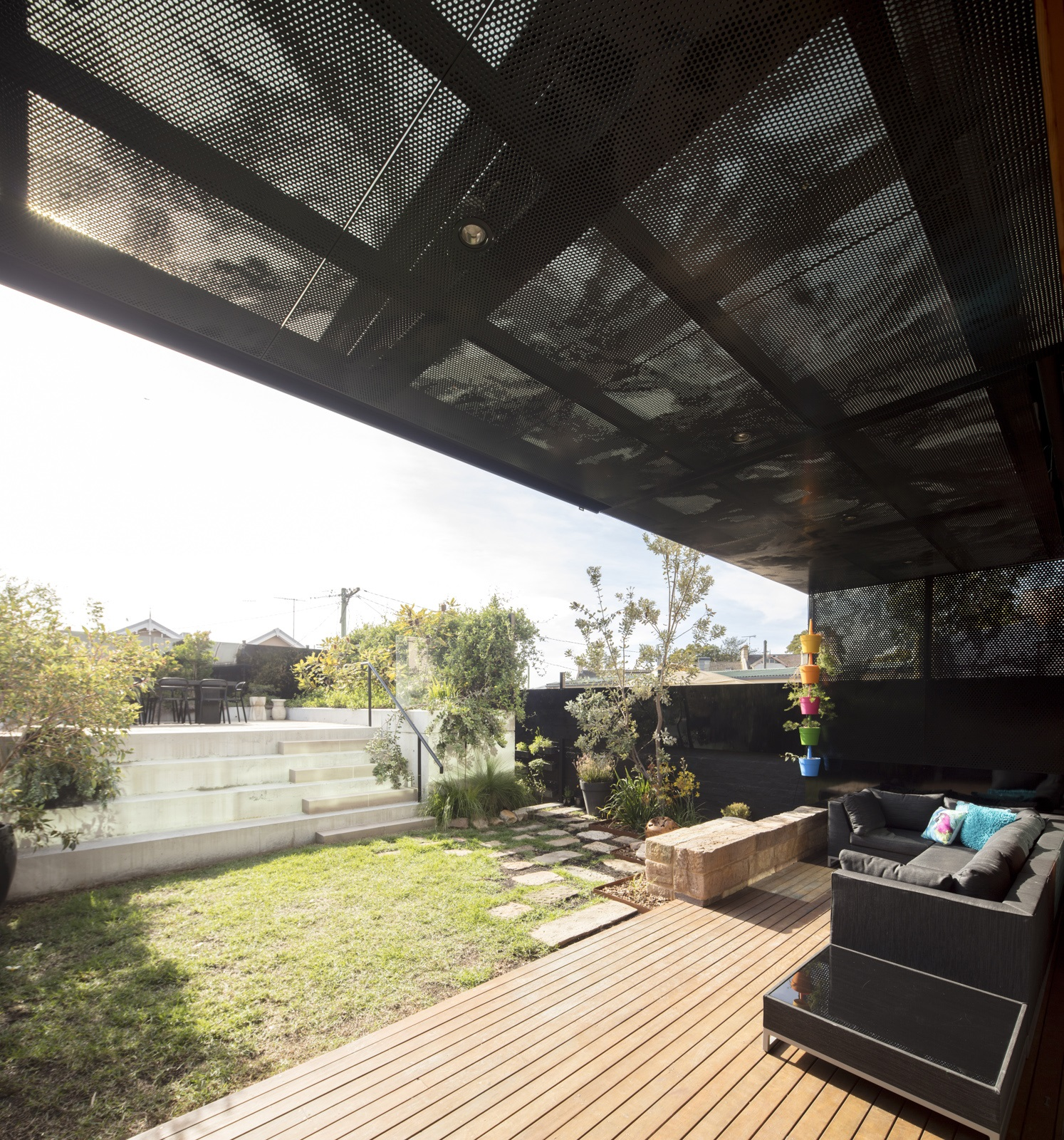 Perforated metal using photos - check out balustrade and fence a house in balmain.