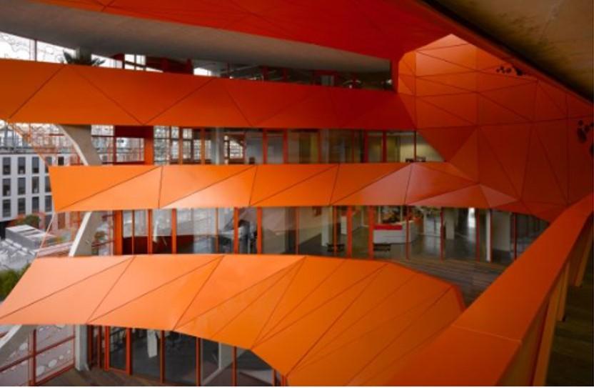 Creative facades - Orange Cube buidling by Jacob + MacFarlane