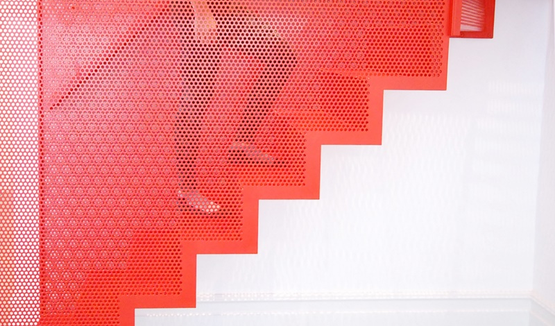 Red perforated metal - Red Stairs