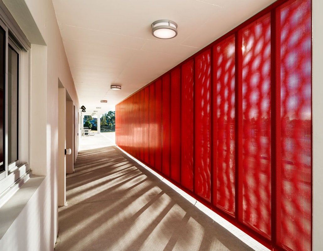 Red Perforated metal - Blacktown tennis centre mural wall