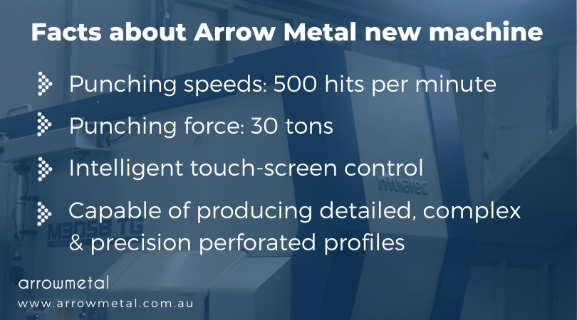 Perforated metal options - powerful and fast new punching machine at Arrow Metal