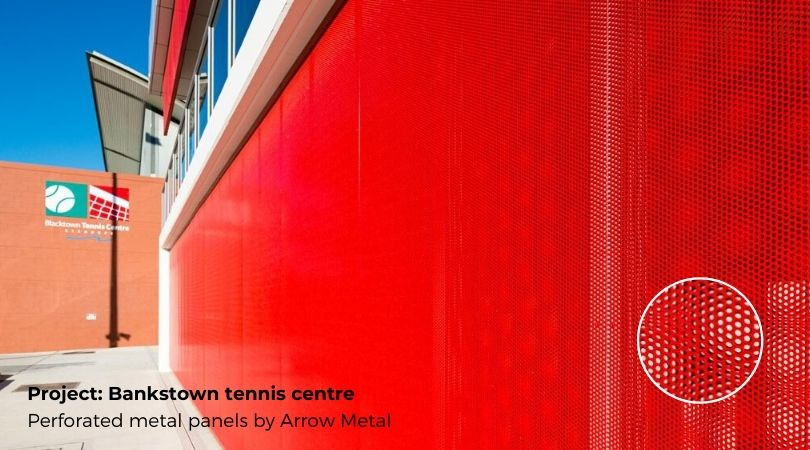Perforated metal bestsellers - Bankstown Tennis Centre project