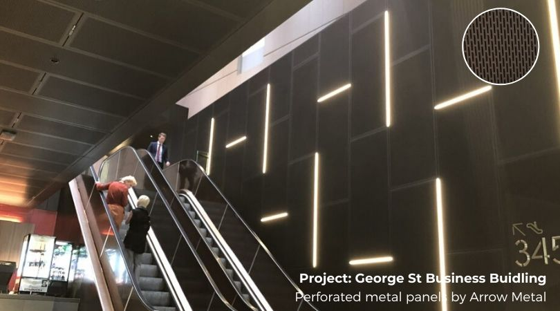 Perforated metal best sellers - George St commercial precint project by Arrow Metal