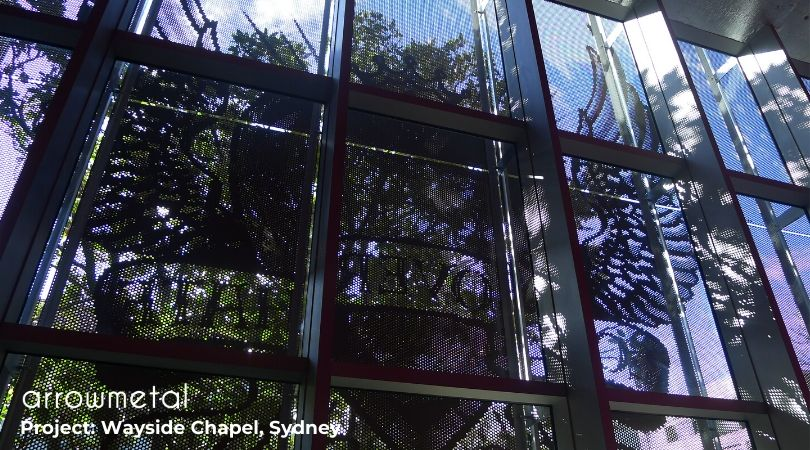 Green architecture projects - Wayside Chapel facade by Arrow Metal