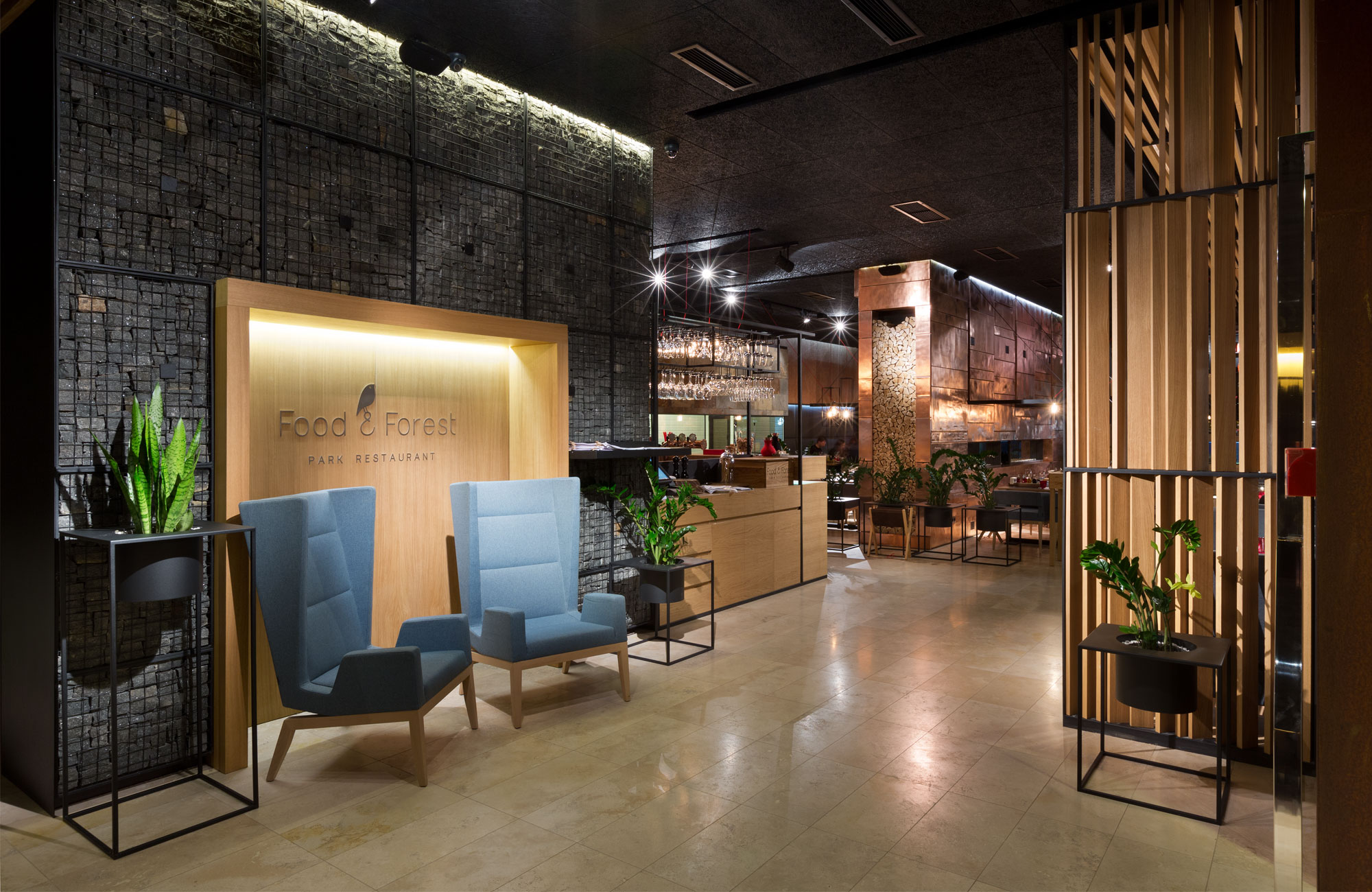 Gambion Walls - Food Forest Restaurant by Yod Design