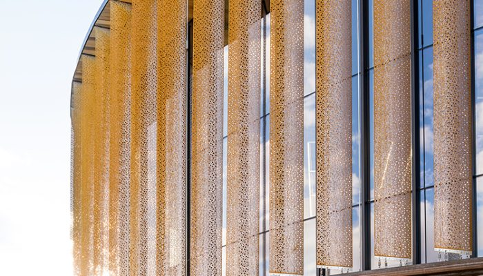 Perforated screen facades that are sun-smart