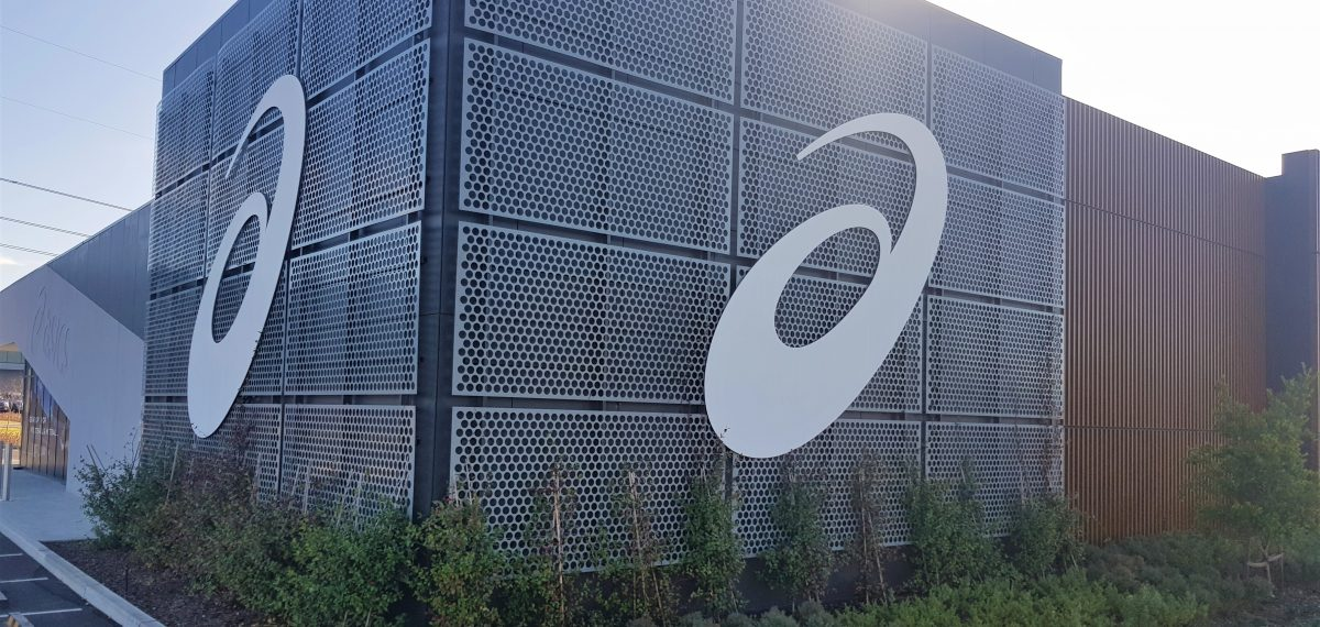 Aluminium perforated sheet by Arrow Metal - Asics Oceania office