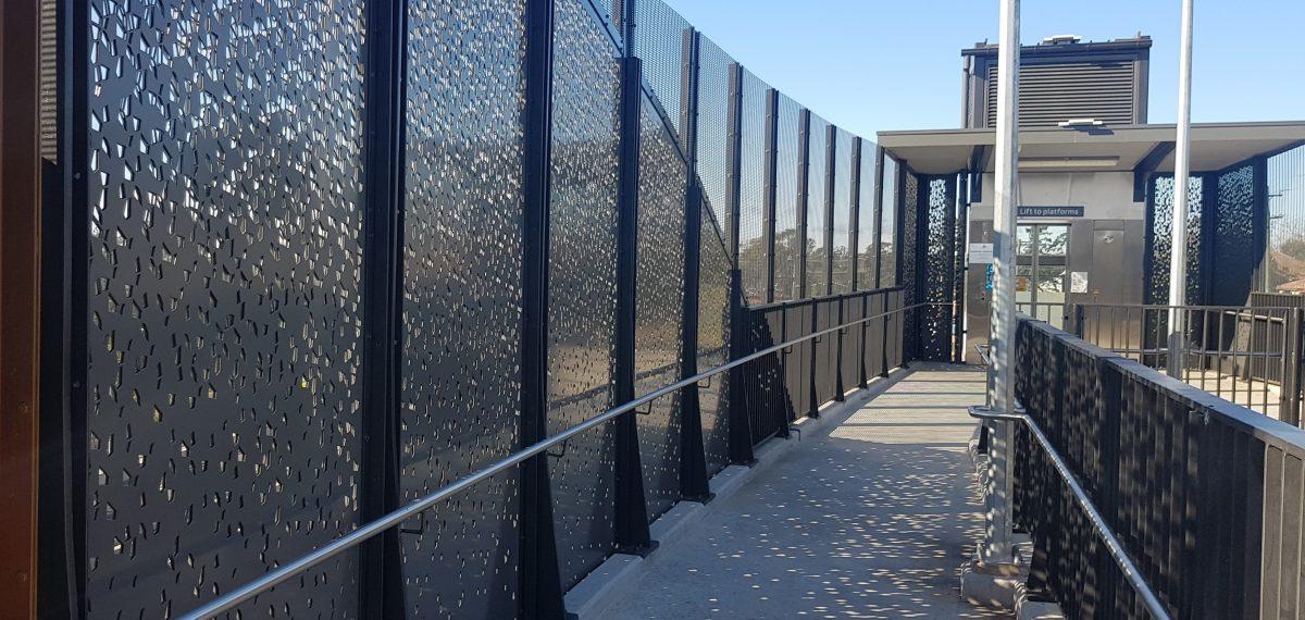 Custom perforated sheet metal by Arrow Metal - Hazelbrook station project