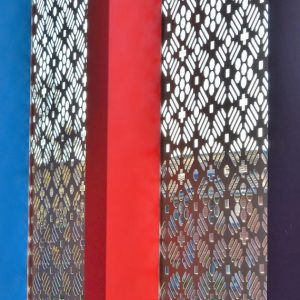 Perforated panel pops with a mixed pattern