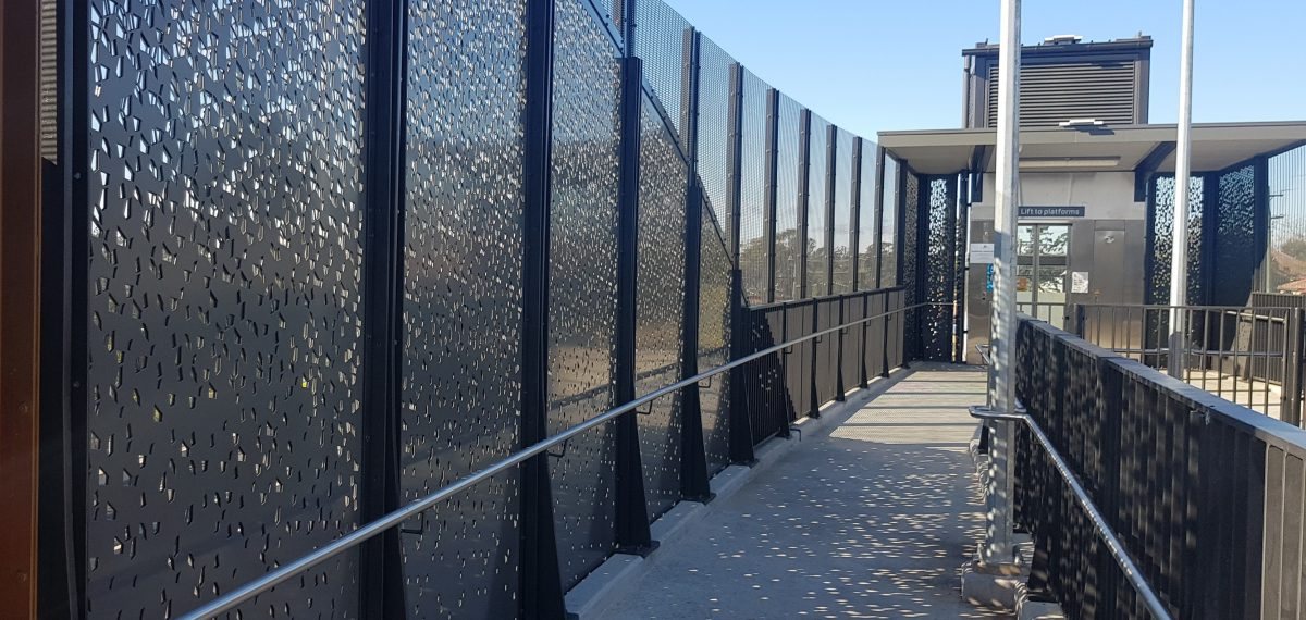 Decorative perforated metal sheet - Hazelbrook Train Station panels by Arrow Metal