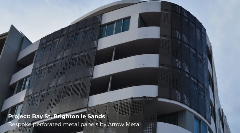 Perforated metal facade systems - bespoke perforated metal panels by Arrow Metal at Bay St Brighton le Sands