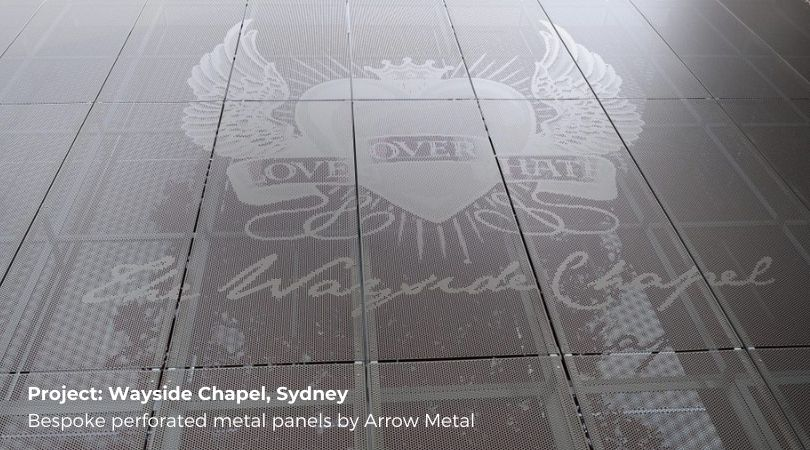Perforated metal facade systems - bespoke panels at Wayside Chapel Sydney by Arrow Metal