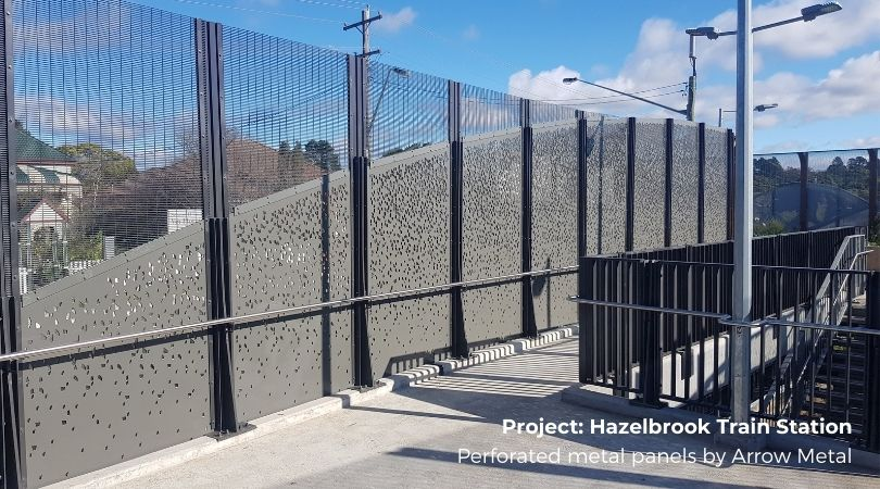Perforated panel patterns - Hazebrook Station panels by Arrow Metal