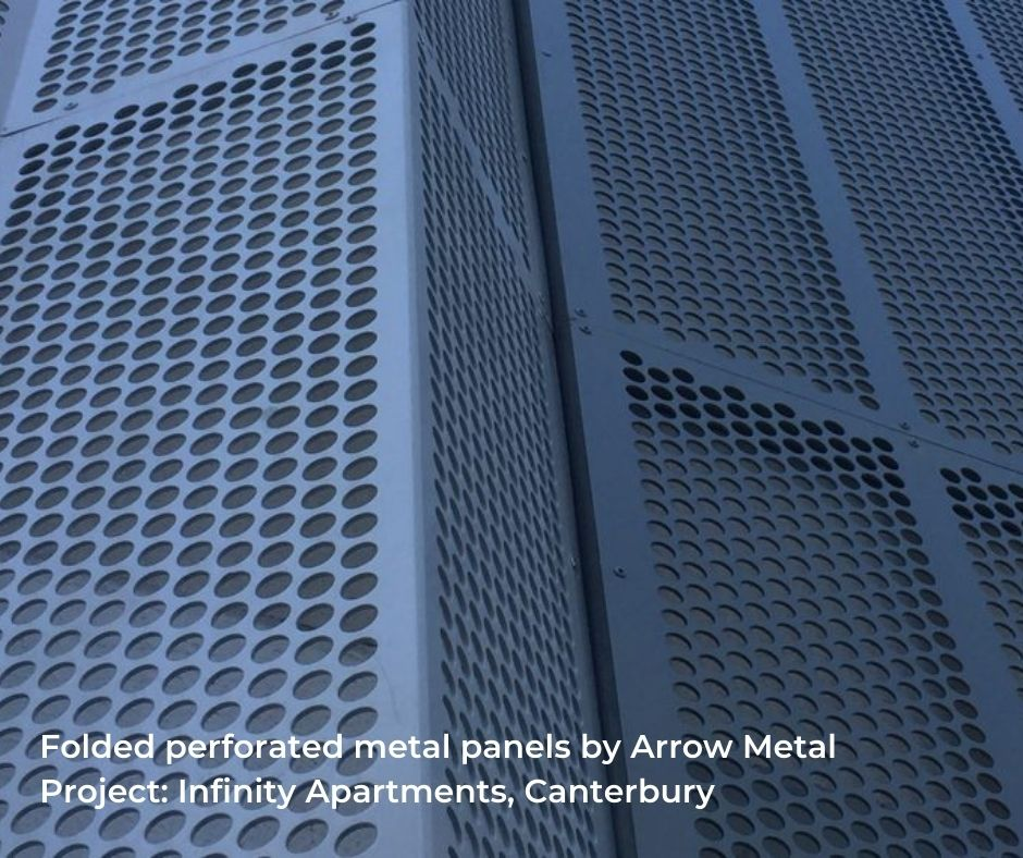 Curved perforated metal panels by Arrow Metal - Infinity Building project