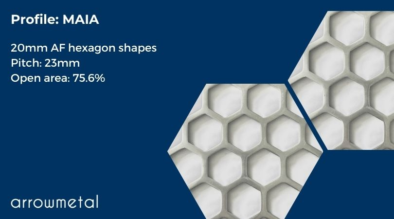 New hexagon perforated metal collection by Arrow Metal - Maia Pattern