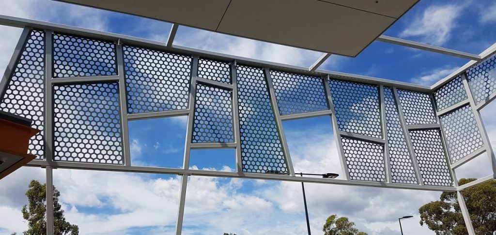Large perforated metal patterns - Cranbrook shopping centre